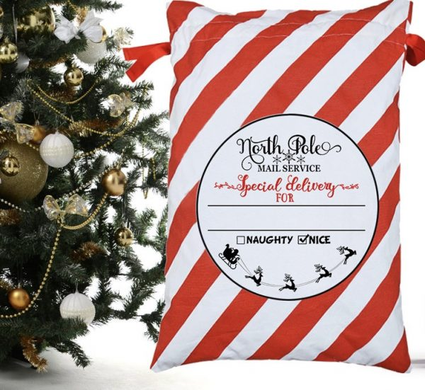 Personalized Santa Sack Drawstring Christmas Bags