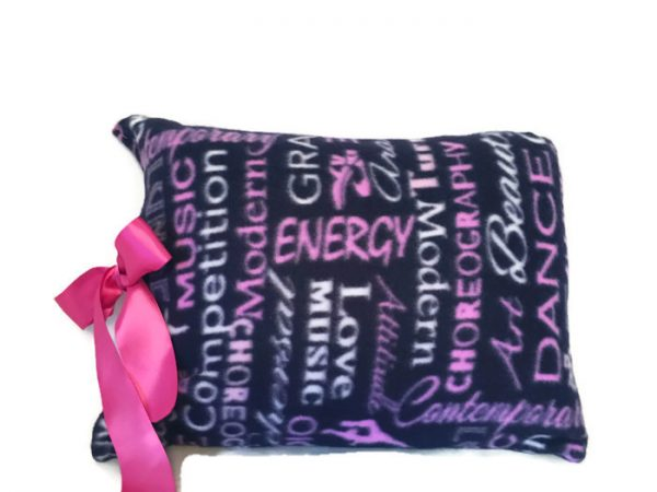 purple dance accent pillow with pink satin bow