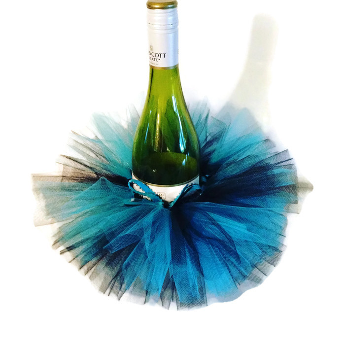 peacock blue wine bottle tutu