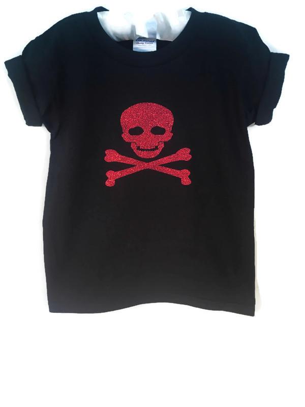 Pirates Glitter Skull Halloween Party Shirt