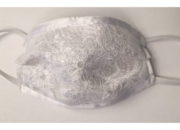 White Lace Communion Or Flower Girl Face Mask