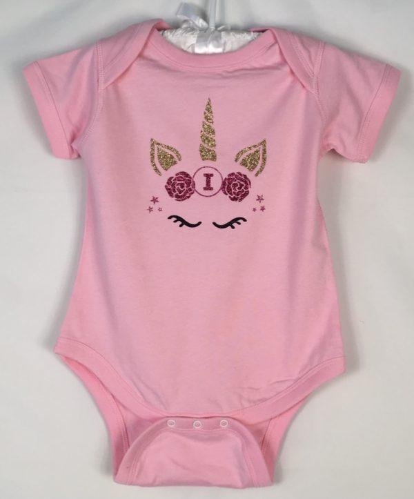 sparkle unicorn pink bodysuit