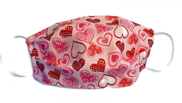 pink heart valentines day face masks
