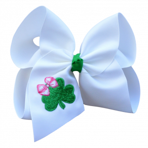 emboidered shamrock st patricks day bow
